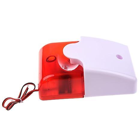 SODIAL(R) 12V Alarma de sonido con cable Sirena de luz intermitente estroboscopica Sistema de seguridad para la casa