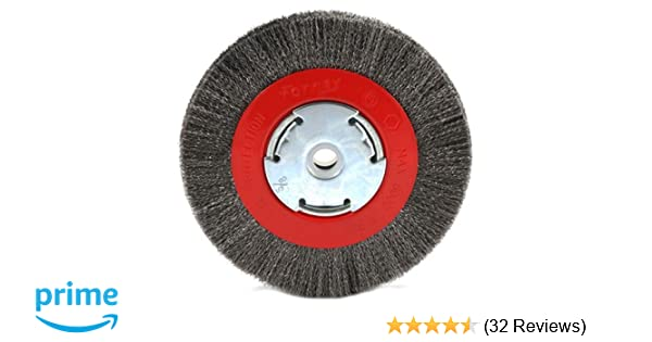Forney 72750 Wire Bench Wheel Brush Narrow Face Coarse Crimped with 1//2-Inch an