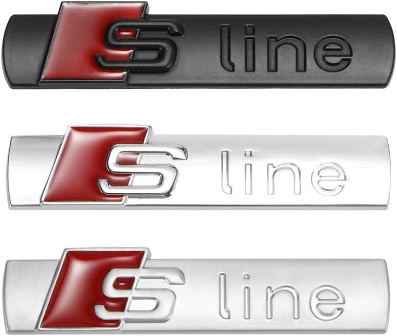 ONEVER De Metal Estilo del Coche S-Line Puerta del Coche Insignia del Emblema de la Cola Pegatinas de Coches para Audi Audi A2 A3 A4 A6 A6L A8 A7 Q3 Q5 Q7 RS3 RS5 RS7 Plata Brillante 2pcs