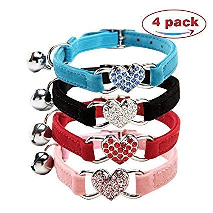 Jeweled Cat Safety Collar - DAIXI Cat Collar with Safety Belt and Bell Heart Bling 8-11 Inches (Black+Red+Pink+Blue)