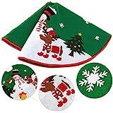 "NICEXMAS Christmas Tree Skirt Green with Reindeer Snowflakes and Snowman Design 36"""