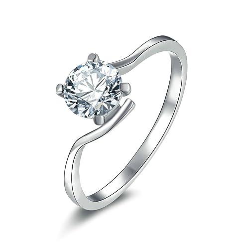 Daesar Joyería Anillos de Compromiso de Plata S925 Mujer, Cuarto Puntas con Pequeños Diamantes Solitario