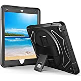 iPad Case 9.7 2017/2018 Cover, Moona Full Body 3 Layer Armor Protective ShockProof iPad Case with Hand Grip and Rotating KickStand for Apple iPad 5 5th Generation 2017 9.7 Inch & 2018 iPad 6th Black