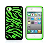iPhone 4S Case, MagicMobile® Hybrid Armor Ultra Protective Case for iPhone 4 / 4S Cute [Zebra Pattern] Design Hard Plastic + Shockproof Rubber Impact Resistant iPhone 4S Defender Cover - Black / Green