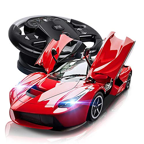 Luccky High Speed Sports Car Home Remote Control Car Kids Toy Child  Electric Car Led Light Mini Gravity Stunt Racing RC Cars Vehicles Toys  Children