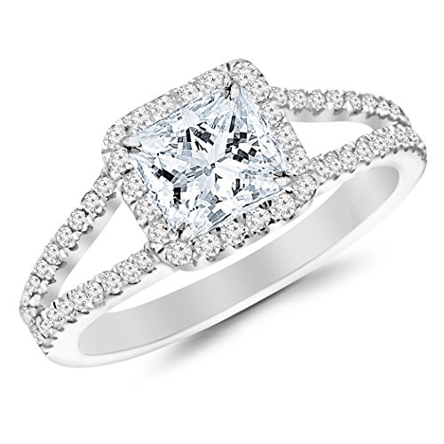 - 2.36 Carat t.w. Princess Shape/Center Silver Halo Style Double Row Pave Split Shank CZ Engagement Ring
