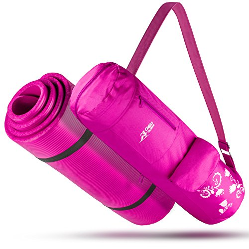 """Go Go Active High Density ½ Inch Thick Mat - All-Purpose, Durable & Comfortable NBR Foam Yoga Mat With Carrying Strap & Matching Bag - Long, 71"""" Mat For Yoga, Pilates & Fitness (Hot Pink)"""