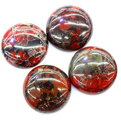 Rainbow Jasper Gemstone - 1pc Natural Cabachon CAB Brecciated Rainbow Jasper Gemstone Jewelry Making Loose Beads (Coin 35mm)