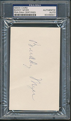 Buddy Myer Index Card - PSA/DNA Certified - Signed Baseball - Myer Cards Online Gift