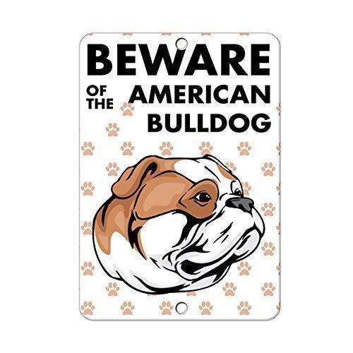 (Lilyanaen New Metal Sign Aluminum Sign Beware of American Bulldog Dog for Outdoor & Indoor 12