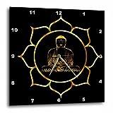 3D Rose Buddha Asia Symbol Fantasy Thai Religion Spiritual Design Gold Black Wall Clock, 15'' x 15''