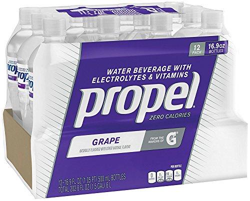 Propel Zero Calorie Sports Drinking Water with Antioxidant Vitamins C & E, Grape, 16.9 Ounce Bottles, (Propel Grape Zero)