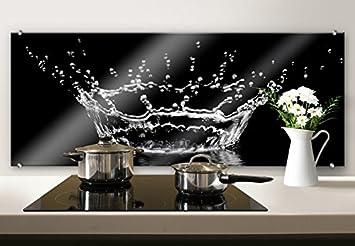 Spritzschutz Glasbild - Wassertropfen - Panorama ...