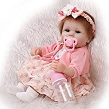 Soft Handmade 17 Inch Baby Girl Dolls Reborn Silicone Cloth Body Newborn Babies Doll Toy With Lovely Clothes Kids Birthday Xmas Gift,Blue eyes?17 inches about 43cm for Patients with Anxiety Disorder