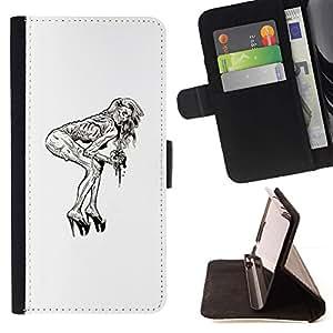 Momo Phone Case / Flip Funda de Cuero Case Cover - Pin Up Zombie;;;;;;;; - Samsung Galaxy Core Prime