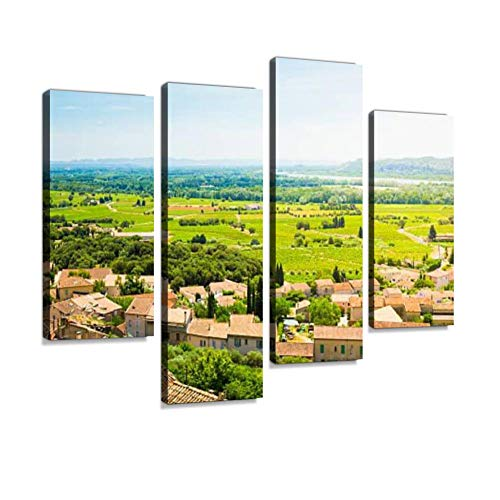 Canvas Wall Art Painting Pictures View from Chateauneuf du Pape Modern Artwork Framed Posters for Living Room Ready to Hang Home Decor 4PANEL