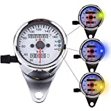 VGEBY Motorcycle Dual Odometer Speedometer Gauge LED Backlight Signal Light ( Color : Silver )