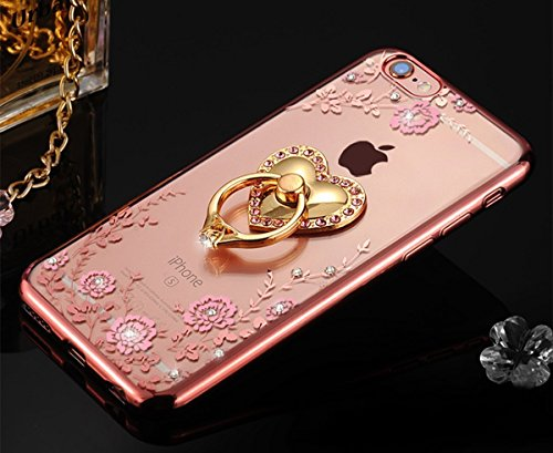 Bling Bling Heart (IKASEFU Luxury Bling[Pink Flower+Love Heart Ring Support]Rose Gold Frame Rhinestone Transparent Clear Case Cover for iPhone SE/5S/5-Rose Gold,Pink Flower)