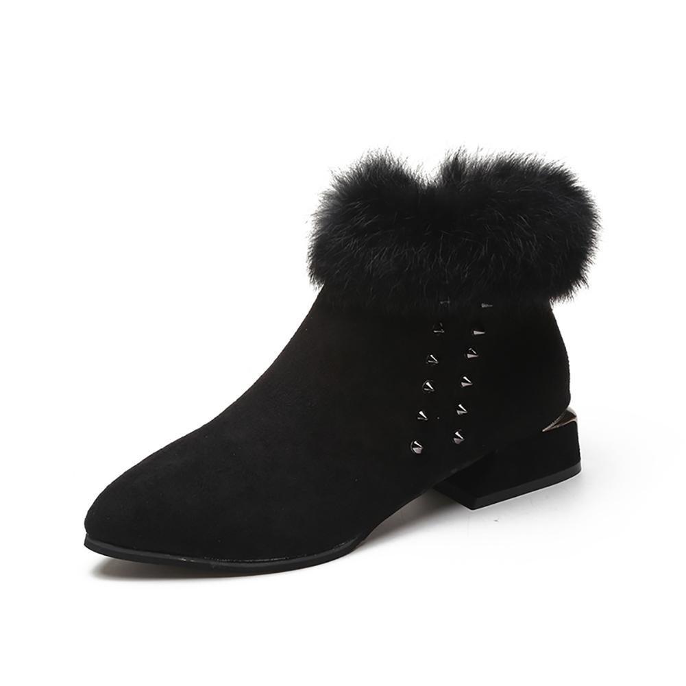 HAIYUANNAN Damenschuhe Weibliche Stiefel Stiefel Weibliche PU Spitz Niedrige Röhre Seitlicher Reißverschluss Schneeschuhe Warm halten Rau mit Kurze Stiefel Martin Stiefel a4ebf8
