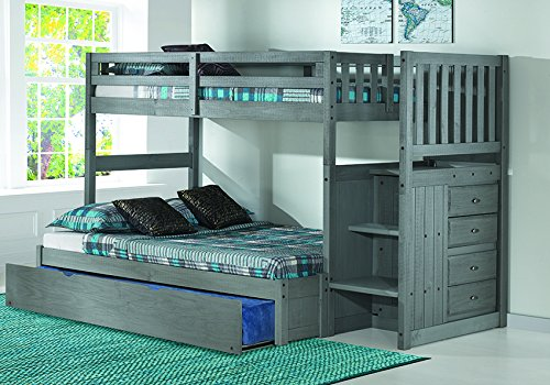 Discovery World Furniture Charcoal Twin over Full Stair Bed