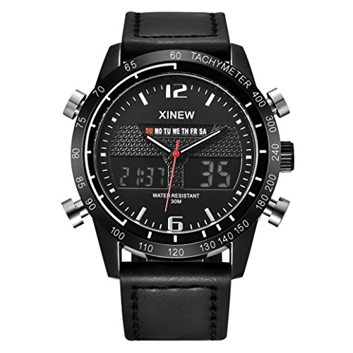 Hot Sale! Clearance! Todaies Mens Army Military Watch Waterproof Sports LED Digital Analog Leathe Wrist Watch (1pcs, Black) (Today Sale)