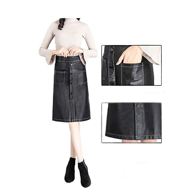 dfb74f45524 LL-ONE Women s Autumn Winter New A Line PU Faux Leather Skirt (XXS)