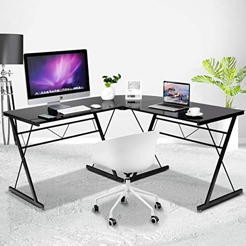 (Tangkula L- Shaped Corner Desk, Corner Computer Desk, Modern Simple Style 3-Piece Metal Frame Study Laptop Desk Writing Gaming Table, Computer Workstation with Glass Top, Home Office Studio)