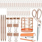 Rose Gold Desk Accessories | 7 Desktop Essentials (44 Items Total) | Office Supply Set & Organizer in Rose Gold Décor