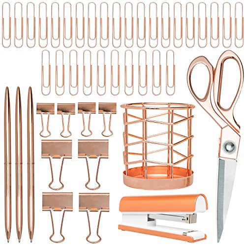 Rose Gold Desk Accessories | 7 Desktop Essentials (44 Items Total) | Office Supply Set & Organizer in Rose Gold Décor by Greenline Goods