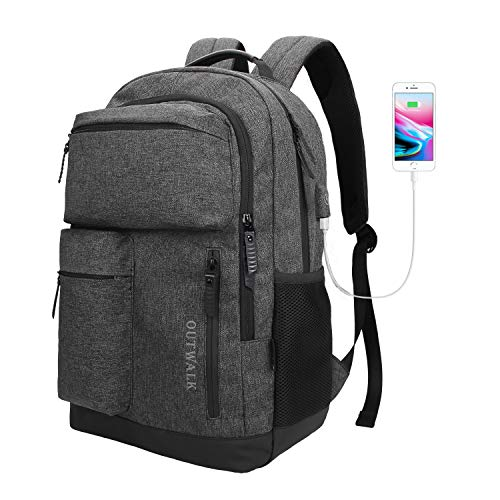 Laptop Backpack, Business Travel Backpack USB Charging Port Women & Men, Waterproof Fashion College High School Bookbag Computer Bag, Fits 15.6 inch Laptop Notebook - Dark Grey