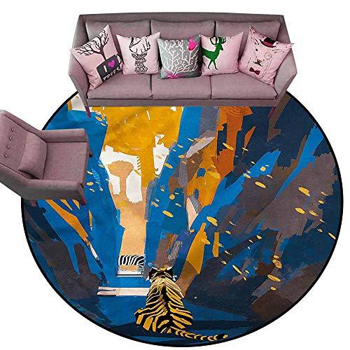 Print Floor Mats Bedroom Carpet Fantasy,Tiger Striped in City Diameter 60