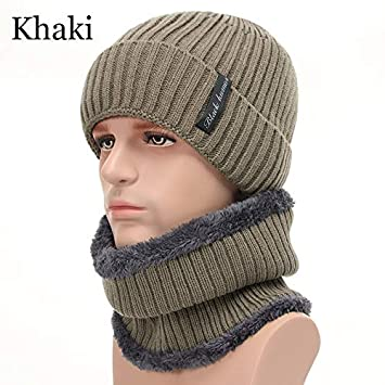 1adbcc6b325ea HOKUGA  2018 Two Pieces Winter Hat Men Scarf Set Wool Warm Women Cap Winter  Hats