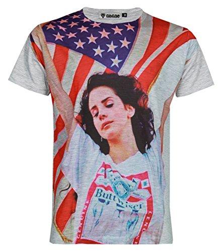 GibGae Lana Del Rey USA Flag Full Print Men Women Unisex Music Tee T-Shirt Size S
