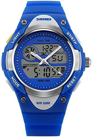 Children Digital 50M Waterproof Alarm Sports Wrist Watch Blue