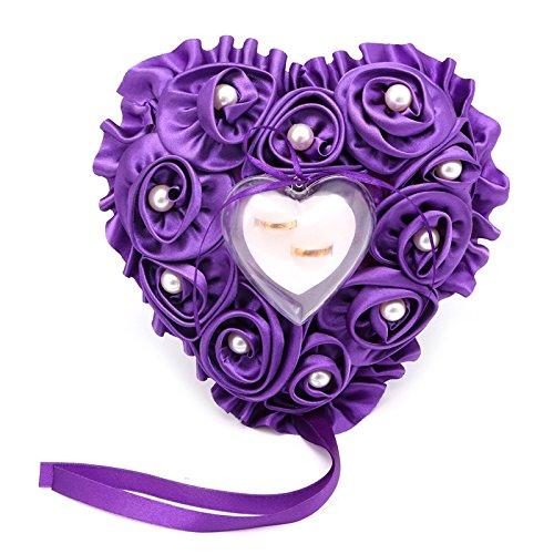 Kofun anillos de boda almohada, Lovely Rose Pearl corazón ...