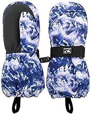 HIGHCAMP Toddler Kids Boy Girl Waterproof Ski Snow Mittens Winter Warm Cold Weather Gloves Long Cuff with Elas