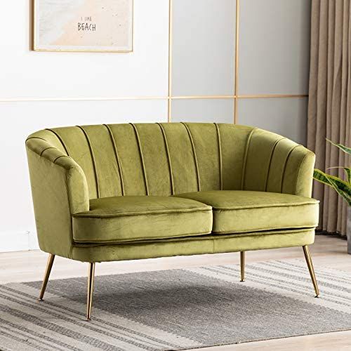 Artechworks Contemporary Velvet Loveseat Chair