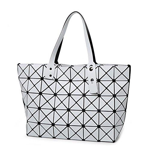 Bag Folding Matt Metal Drawing Shoulder Handbag Bag Fashion Casual Women Tote Handle Bag Geometric Shoulder Bag Beige