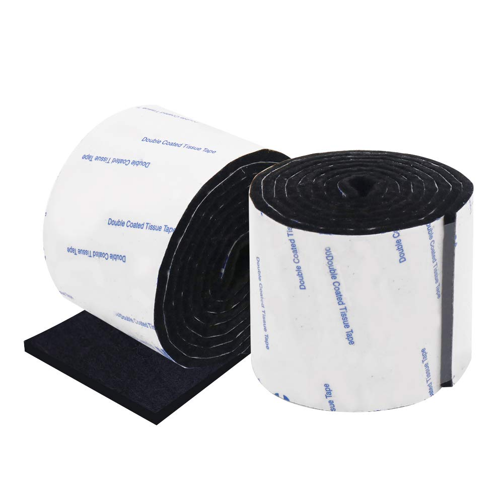 Shintop Felt Tape DIY Adhesive Heavy Duty Felt Strip Roll Cut into Any Shape to Protect Your Hardwood and Laminate Flooring, 1.96 x 39.3 Inches (Pack of 2, Black)