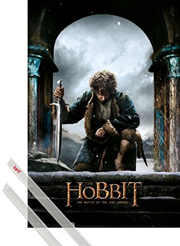 (1art1 Poster + Hanger: The Hobbit Poster (36x24 inches) The Battle of The Five Armies Bilbo Baggins and 1 Set of Transparent Poster Hangers)