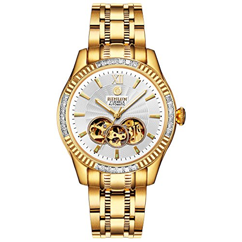 BINLUN Men's Automatic 18K Gold-Plated Watch Luminous Luxury Skeleton Waterproof Watches