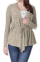 Juliarode Women S Lady S Fashion Cardigan Long Sleeve Waterfall Solid Knitwear Sweater Yellow Medium