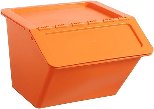 Naranja Caja de Almacenamiento Plástico Apilable Dormitorio Cocina Juguete Ropa Interior Snacks Acabado: Amazon.es: Hogar