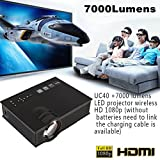 Hanbaili (Black+US Plug)UC40 Mini LED Video Projector, 7000 Lumens Multimedia Home Theater Video Projector Support 1080P HDMI USB SD Card VGA AV Home Cinema TV Laptop Game iPhone Android Smartphone wi