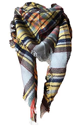 Wander Agio Womens Warm Scarf Triangle Shawls Large Scarves Stripe Plaid Fichu Beige Grey 21
