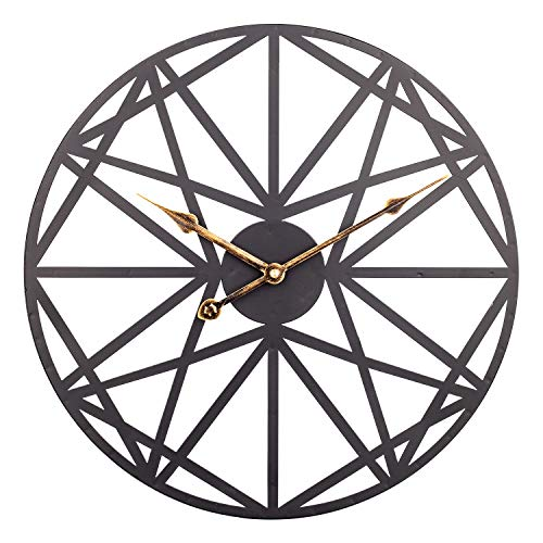 Large Wall Clock, 18 inch American Modern Metal Clock with Geometric Dial, Silent Battery Operated Clock Decorative for Home, Living Room, Kitchen, Den - Brushed Black