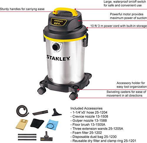 Stanley Wet/Dry Vacuum, 4 Gallon, 4 Horsepower, Stainless Steel Tank by Stanley (Image #2)