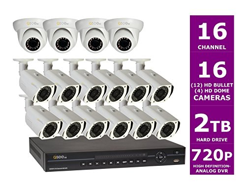 Q-See QC9016-16M4-2 16 Channel HD Security Surveillance System with 16 High Definition ***720p*** Heritage HD Cameras and 2TB Hard Drive (Black-DVR, White Cameras)