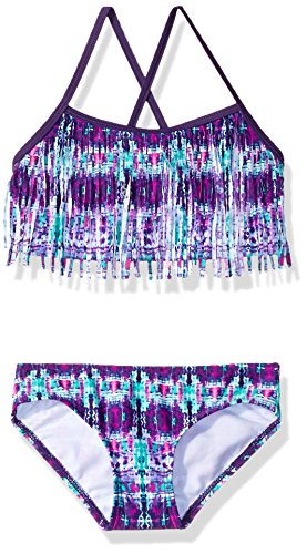 Kanu Surf Little Girls' Kayla Fringe Bikini Swimsuit, Purple, 5