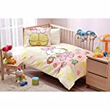 LaModaHome 4 Pcs Luxury Soft Colored Licensed Baby Quilt Cover Set 100% Cotton Cream Yellow Purple Bear Duck Kid Bird Toys Baby Bed with Flat Sheet